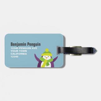 Etiqueta personalizada pingüino lindo del equipaje etiquetas de equipaje