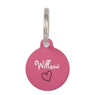 Etiqueta personalizada rosa lindo del mascota con identificador para mascota