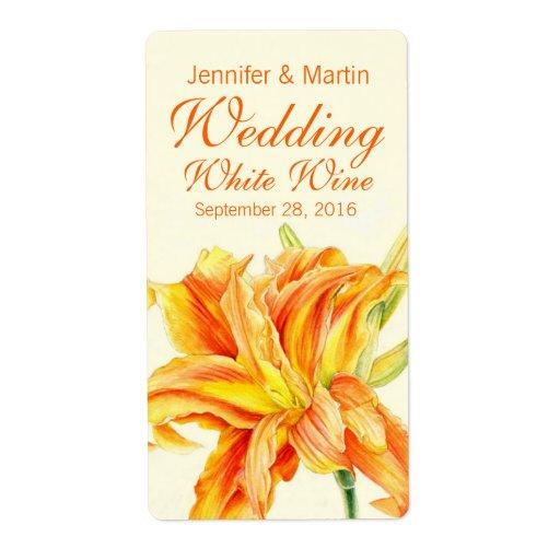 Etiqueta personalizada vino floral del boda del Da Etiqueta De Envío