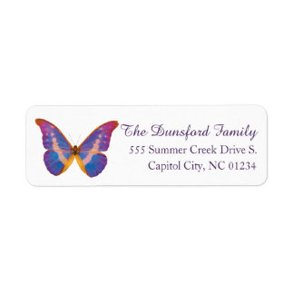 Etiqueta peruana del remite de la mariposa de la etiqueta de remitente