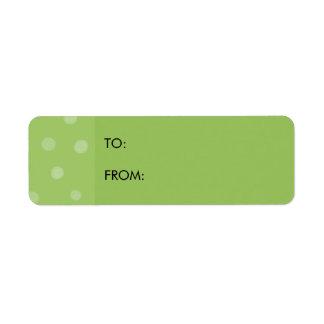 Etiqueta pintada del regalo del verde de los etiqueta de remite
