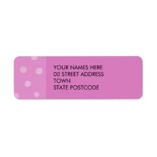 Etiqueta pintada del remite del rosa de los puntos etiqueta de remite