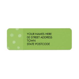 Etiqueta pintada del remite del verde de los etiqueta de remite
