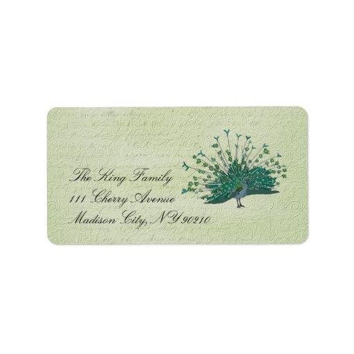 Etiqueta pintada del vintage del pavo real etiquetas de dirección