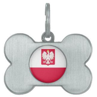 Etiqueta polaca del hueso de perro del escudo de a placa de nombre de mascota