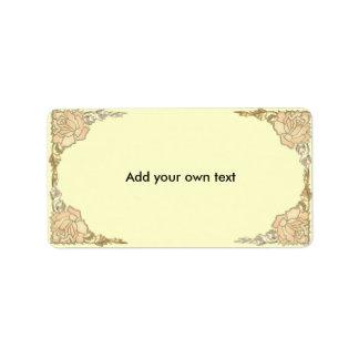 Etiqueta poner crema de los rosas del oro del vitr etiquetas de dirección