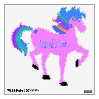 Etiqueta Prancing rosada de la pared del caballo