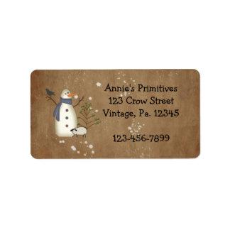 Etiqueta primitiva del muñeco de nieve del país etiqueta de dirección