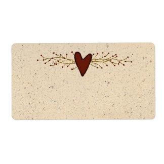 Etiqueta primitiva del producto del corazón etiqueta de envío