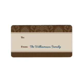 Etiqueta pura del regalo de vacaciones de la elega etiqueta de dirección
