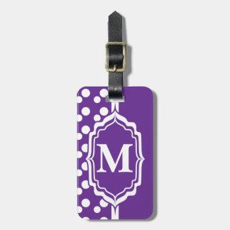 Etiqueta púrpura con monograma del lunar etiquetas para maletas