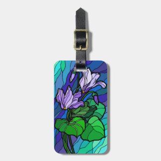 Etiqueta púrpura de cristal del equipaje de la flo etiquetas para maletas
