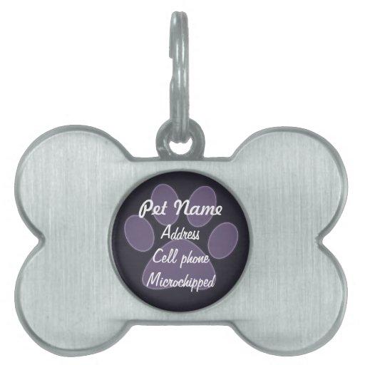 Etiqueta púrpura de encargo del mascota de la impr placa de mascota