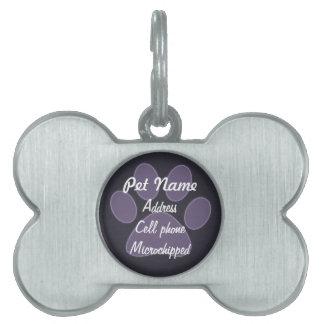 Etiqueta púrpura de encargo del mascota de la placa de mascota