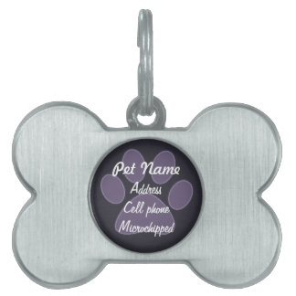 Etiqueta púrpura de encargo del mascota de la placas de nombre de mascota