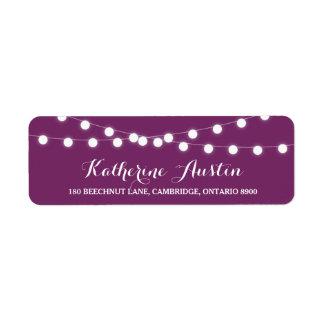 Etiqueta púrpura de hadas blanca del remite de las etiqueta de remitente