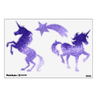 Etiqueta púrpura de la pared de los unicornios de