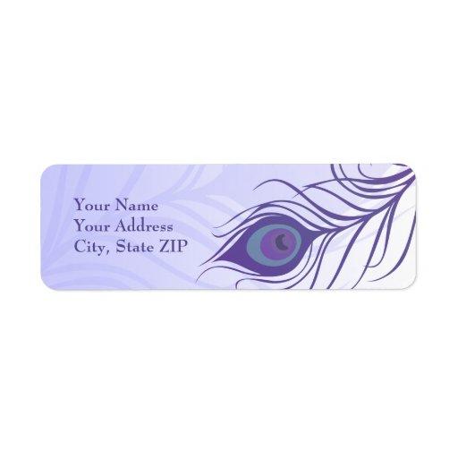 Etiqueta púrpura de la pluma del pavo real etiqueta de remite