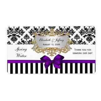 Etiqueta púrpura del agua del damasco blanco negro etiqueta de envío