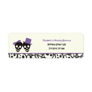 Etiqueta púrpura del boda de Halloween de los crán Etiquetas De Remite