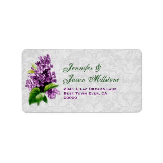 Etiqueta púrpura del boda de la lila del vintage etiqueta de dirección