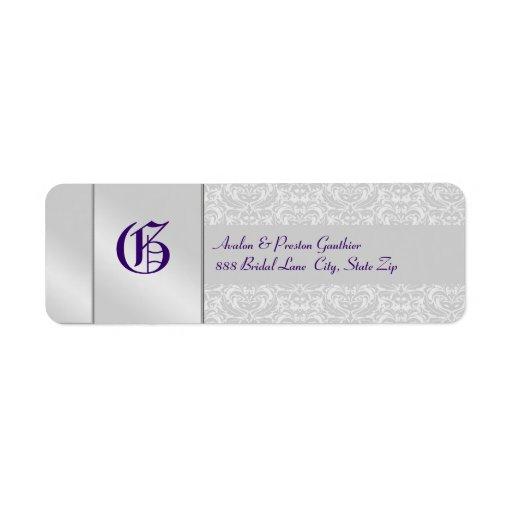 Etiqueta púrpura del boda del monograma de plata d etiqueta de remite