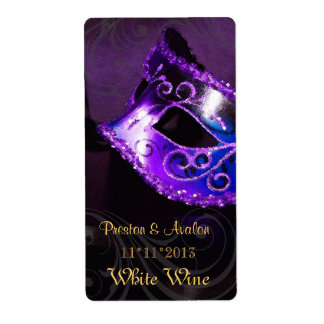Etiqueta púrpura del boda del vino de la mascarada etiqueta de envío