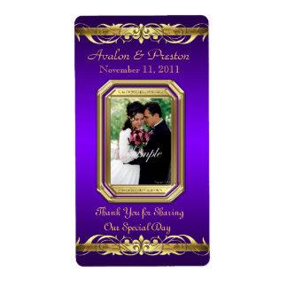 Etiqueta púrpura del boda del vino del oro de la g etiquetas de envío