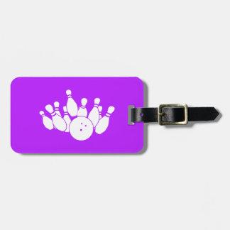 Etiqueta púrpura del bolso de los bolos etiqueta de maleta