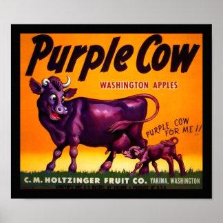 Etiqueta púrpura del cajón de la producción de la