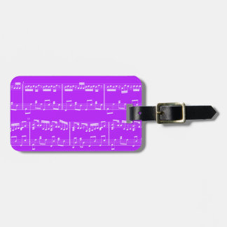 Etiqueta púrpura del equipaje de la partitura etiqueta de maleta