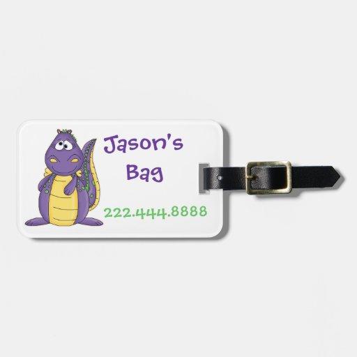 Etiqueta púrpura del equipaje del dragón del niño etiqueta para maleta