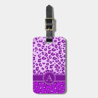 Etiqueta púrpura del equipaje del monograma del es etiquetas para equipaje