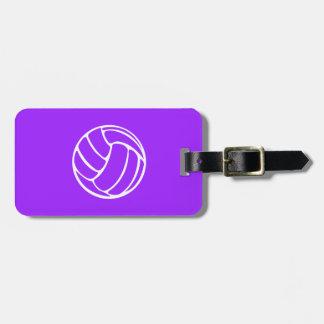 Etiqueta púrpura del equipaje del voleibol