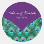 Etiqueta púrpura del favor del boda del pavo real