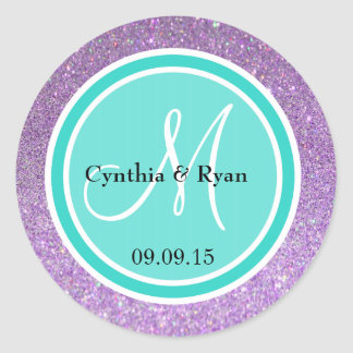 Etiqueta púrpura del monograma del boda del brillo
