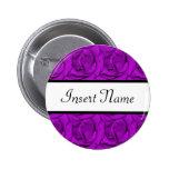 Etiqueta púrpura del nombre del boda de los rosas pins