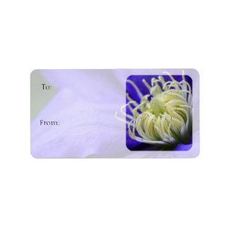 Etiqueta púrpura del regalo del Clematis del Etiqueta De Dirección