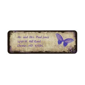 Etiqueta púrpura del remite de la mariposa del vin etiqueta de remite