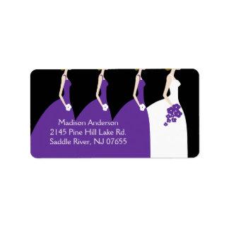Etiqueta púrpura del remite de la novia y de las etiqueta de dirección