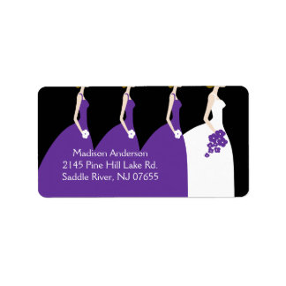 Etiqueta púrpura del remite de la novia y de las d etiqueta de dirección