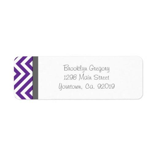 Etiqueta púrpura del remite de la raya de Chevron Etiquetas De Remite