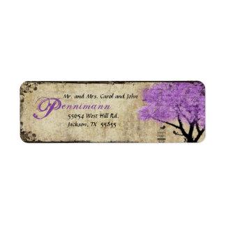 Etiqueta púrpura del remite del árbol y de los páj etiquetas de remite