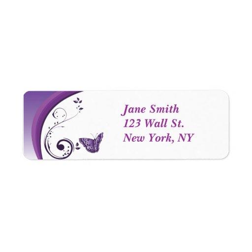 Etiqueta púrpura del remite del diseño de la marip etiqueta de remite