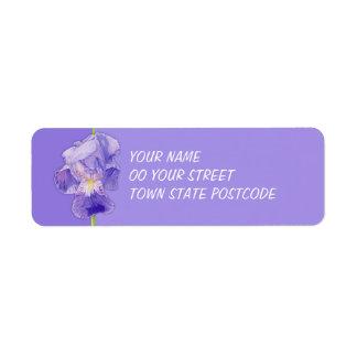 Etiqueta púrpura del remite del iris púrpura etiquetas de remite