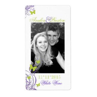 Etiqueta púrpura del vino del boda de la mariposa  etiquetas de envío
