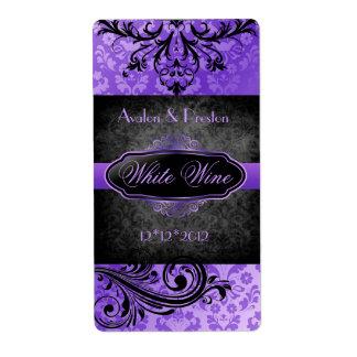 Etiqueta púrpura del vino del boda de la voluta de etiquetas de envío