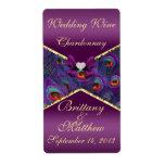 Etiqueta púrpura del vino del boda del pavo real etiqueta de envío