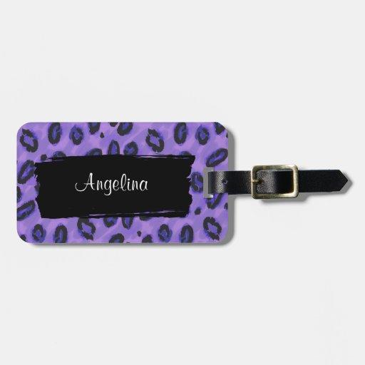 Etiqueta púrpura enrrollada de la identidad del etiquetas maleta