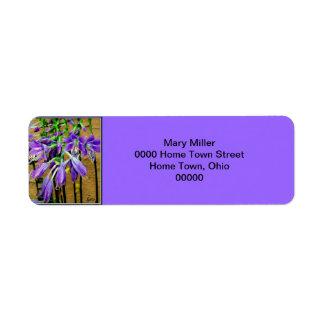 Etiqueta púrpura floreciente de la flor del Hosta Etiqueta De Remite